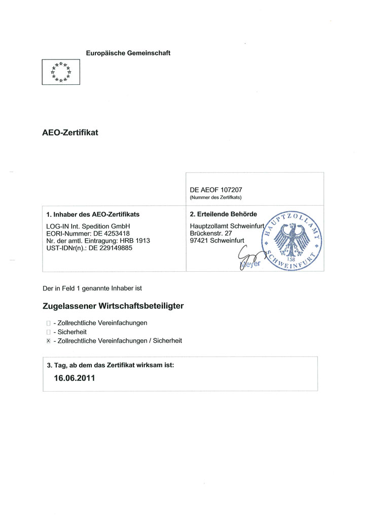 AEO Zertifikat LOG-IN Int. Spedition GmbH