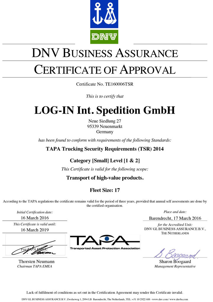 CERT LOG-IN TSR 2014 Certificate LOG-IN Int. Spedition GmbH
