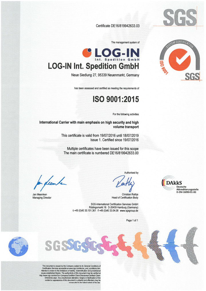 SGS ISO 9001:2015 en LOG-IN Int. Spedition GmbH